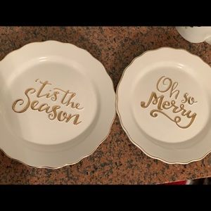 Mudpie Christmas Dishes- Set of 2 white/gold